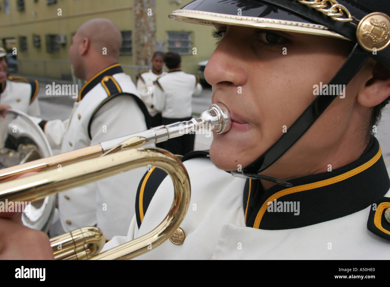 Miami Florida Little Havana Calle Ocho Tres Reyes Magos Three Kings Parade high school band member trumpet - Stock Image
