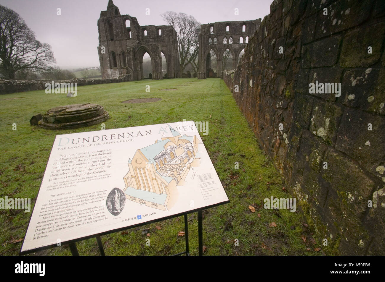 Dundrennan Abbey in Dumfrieshire Scotland - Stock Image