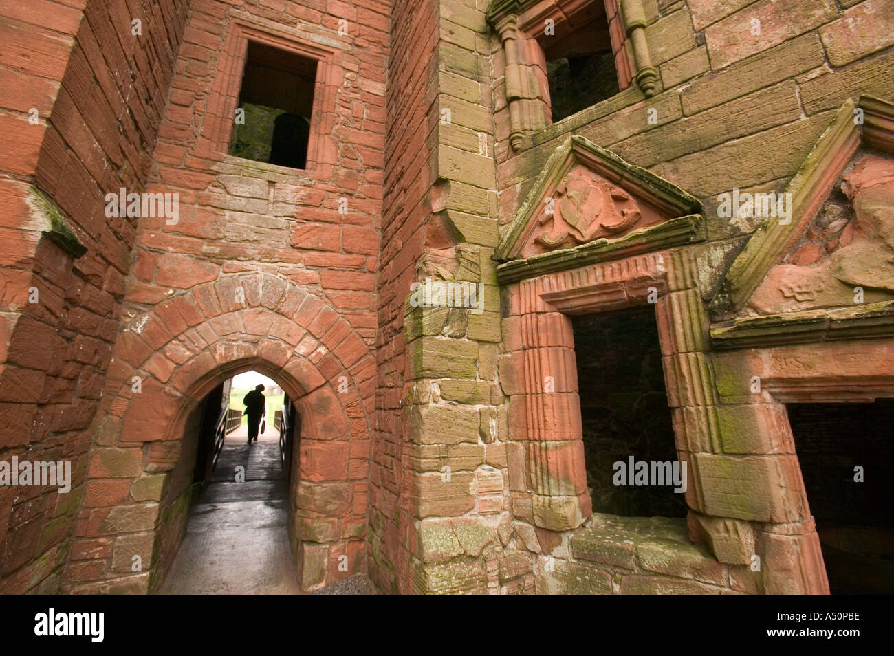 a visitor at Caerlaverock castle Dumfrieshire Scotland - Stock Image