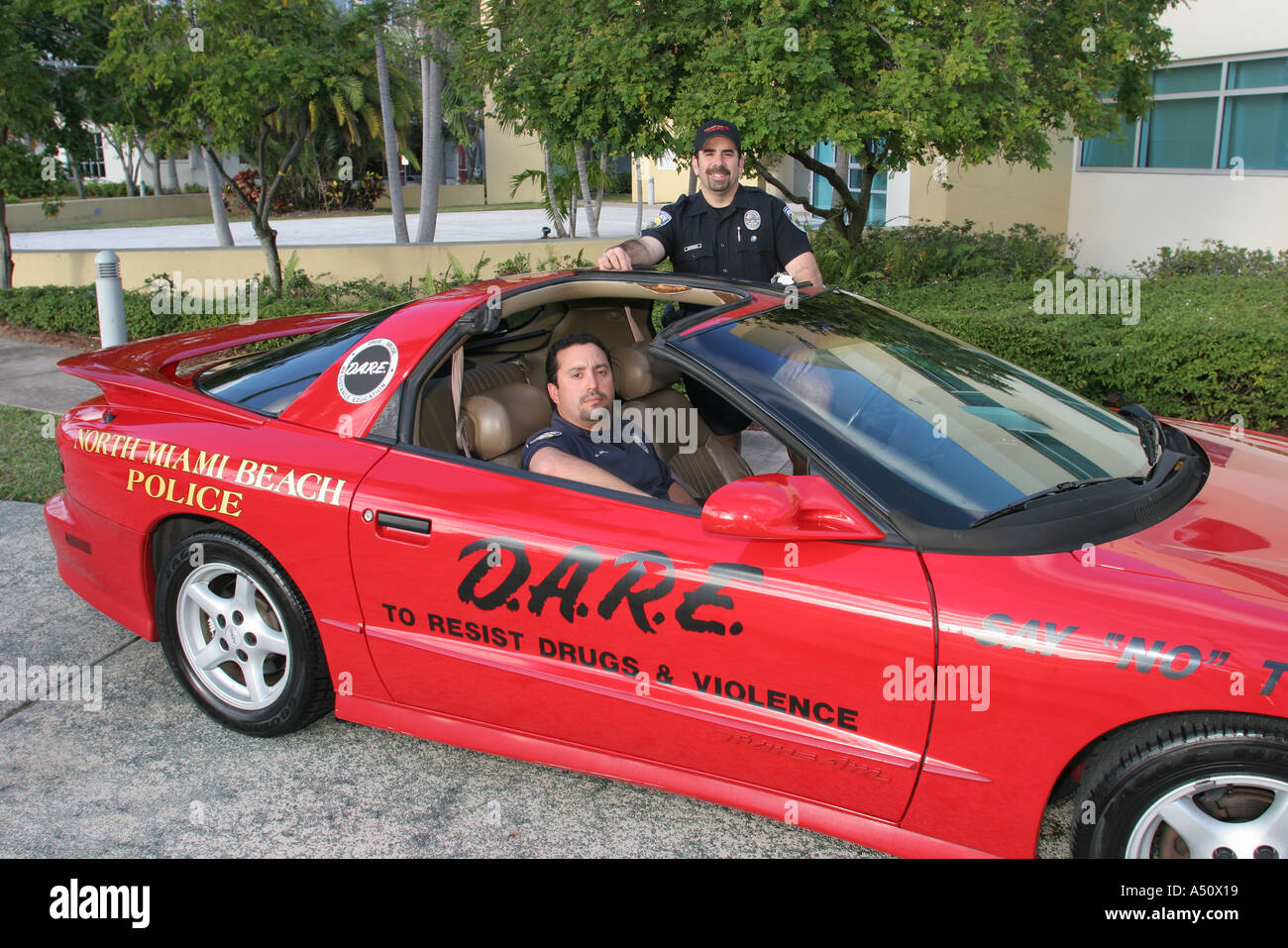 North Miami Beach Florida Police Department DARE Anti Drug Promotion Red  Sports Car