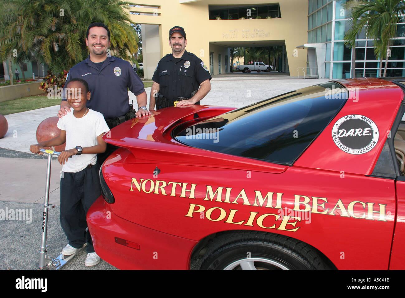 North Miami Beach Florida Police Department DARE Anti Drug Promotion Red  Sports Car Black Male Boy