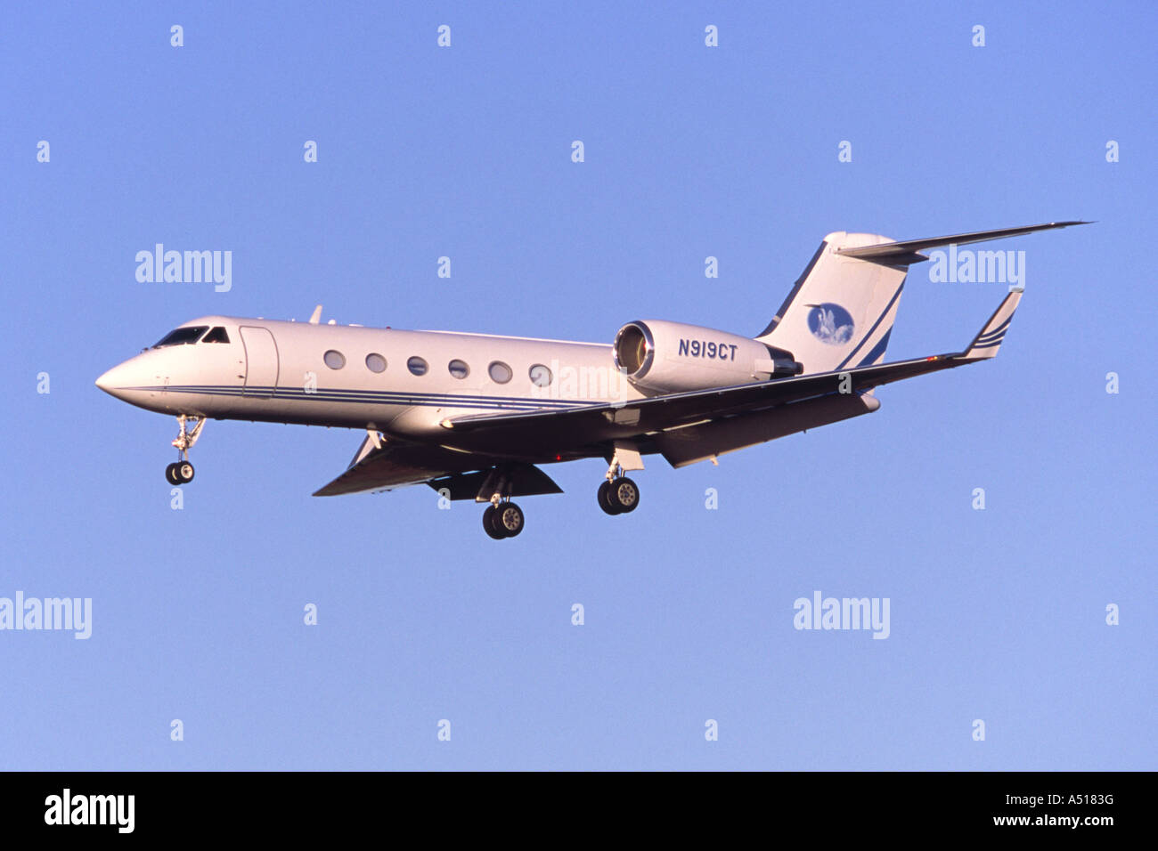 Gulfstream G-IV private jet laning at Luton Airport, UK - Stock Image