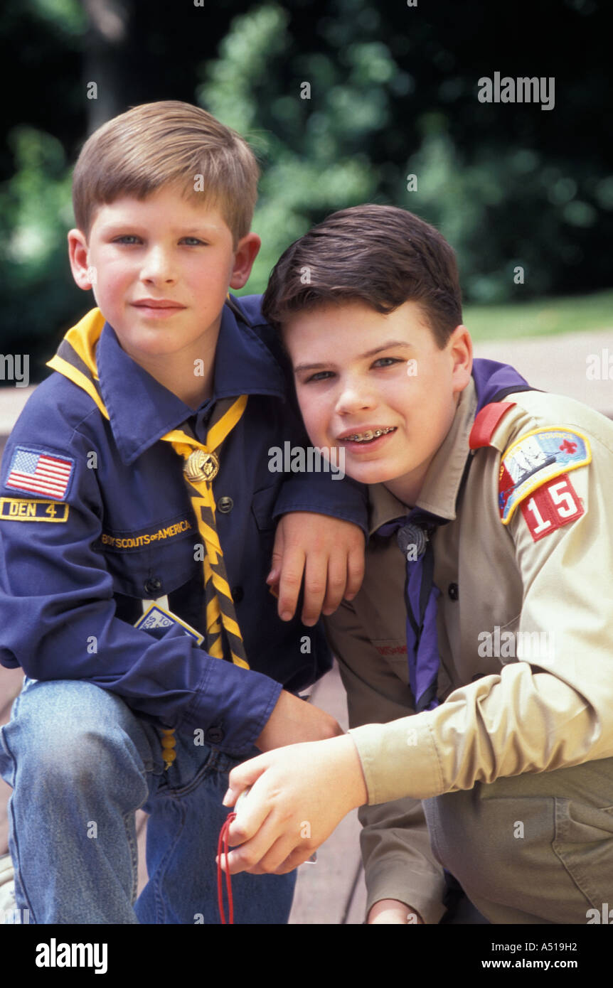 Boy Scout and Cub Scout posing for portrait User needs to obtain specific permission from Boy Scouts of America Irvine TX - Stock Image