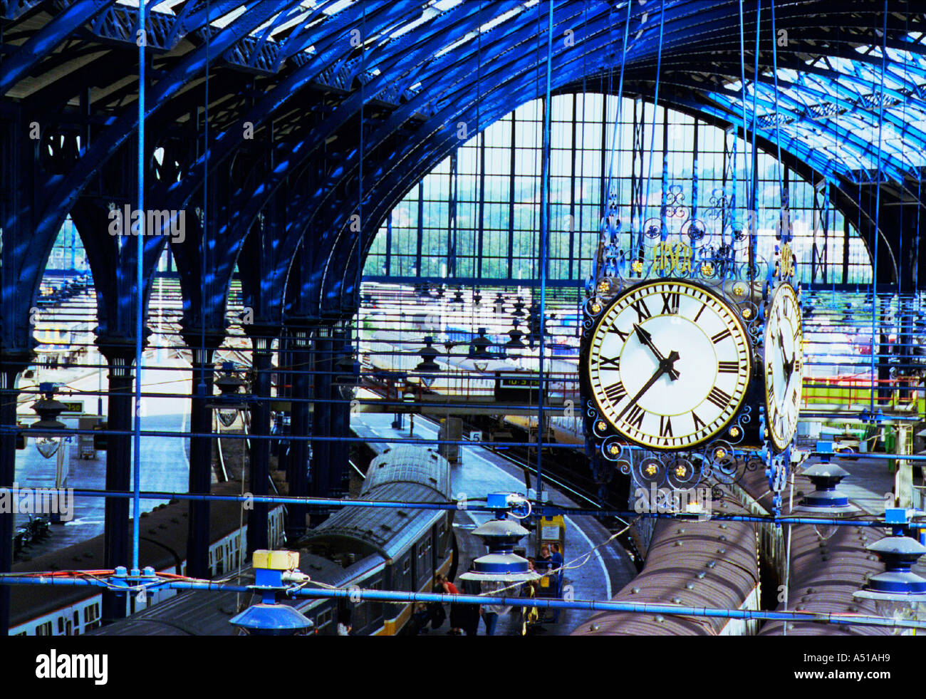 The newly  restored London Brighton and South Coast Railway Clock under the station canopy - Stock Image