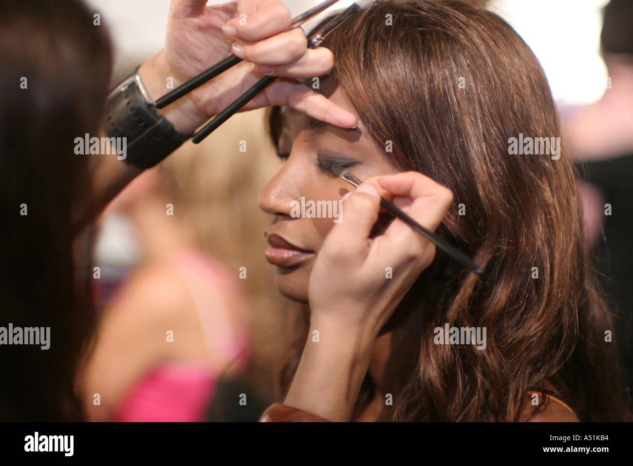 Miami Beach Florida South Beach Funkshion fashion event Black female runway model makeup artist brush