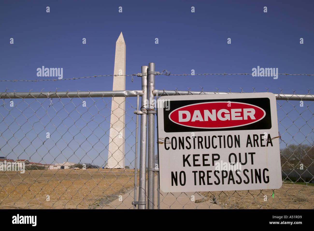 Construction zone around the Washington Monument Washington DC USA - Stock Image