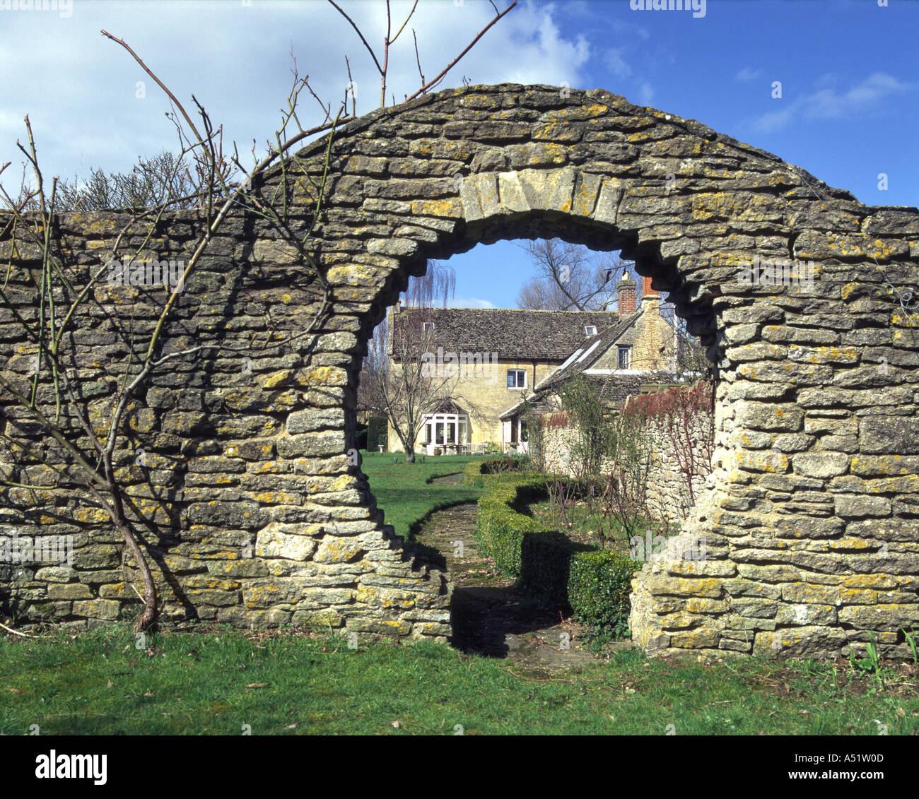 Keyhole Gate Way Through Stone Garden Wall