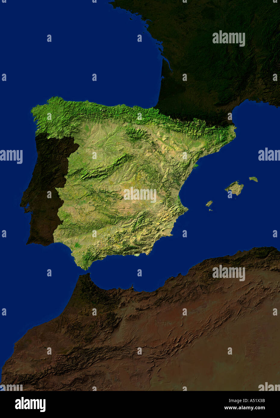 Satellite Map Of Spain.Spain Map Stock Photos Spain Map Stock Images Alamy