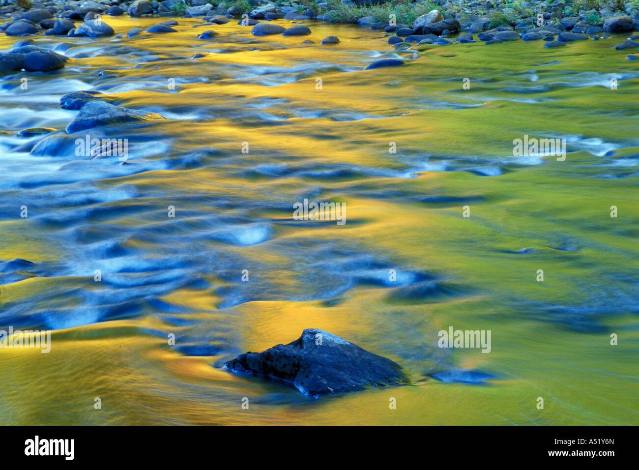 Jamaica VT Fall colors reflect in the West River Jamaica State Park - Stock Image
