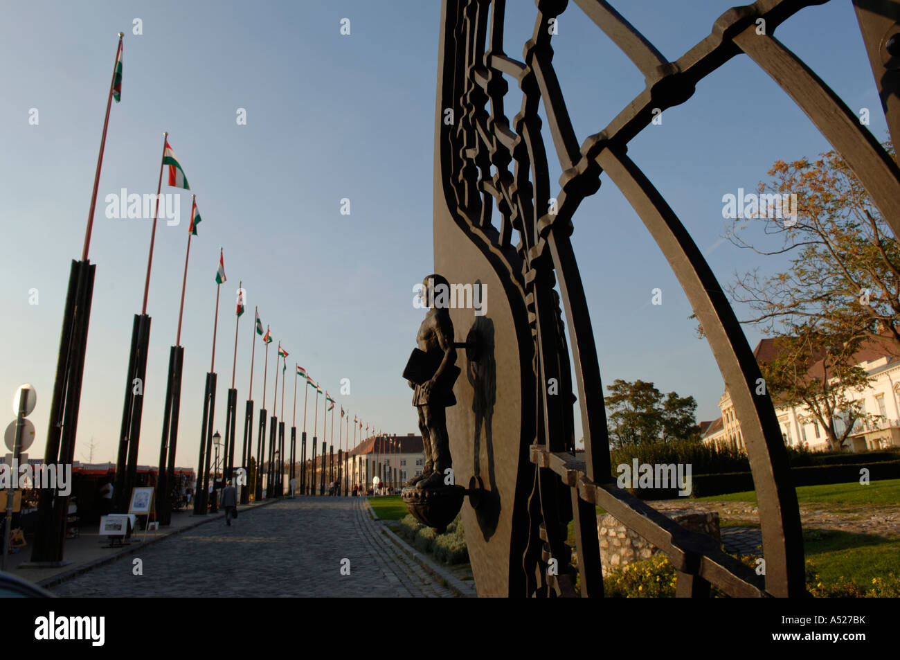 modern metal gate. Budapest Castle In Buda Modern Metal Gate - Stock Image