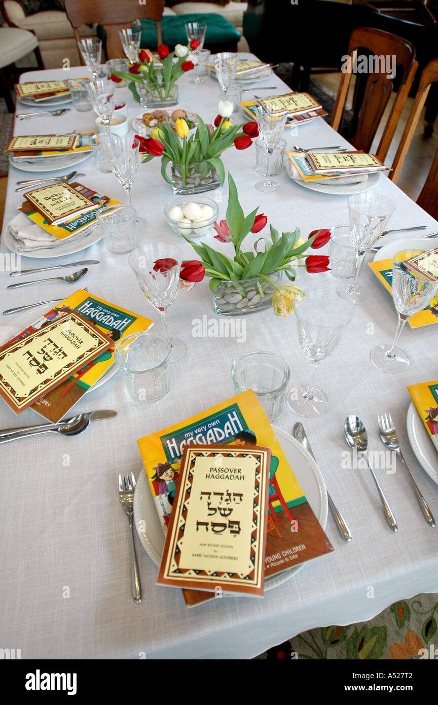 Passover haggadahs recount the story of the Jews exodus from Egypt at the Seder during Jewish religious holiday of Passover. - Stock Image