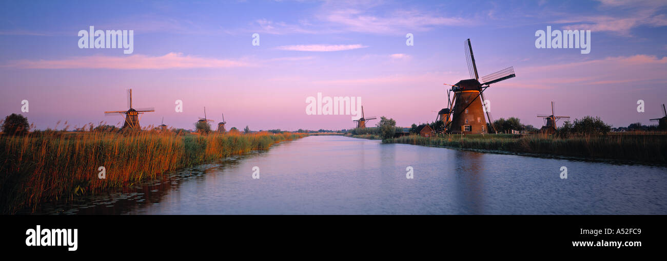 Windmills, Kinderdijk, Zuid, Holland - Stock Image