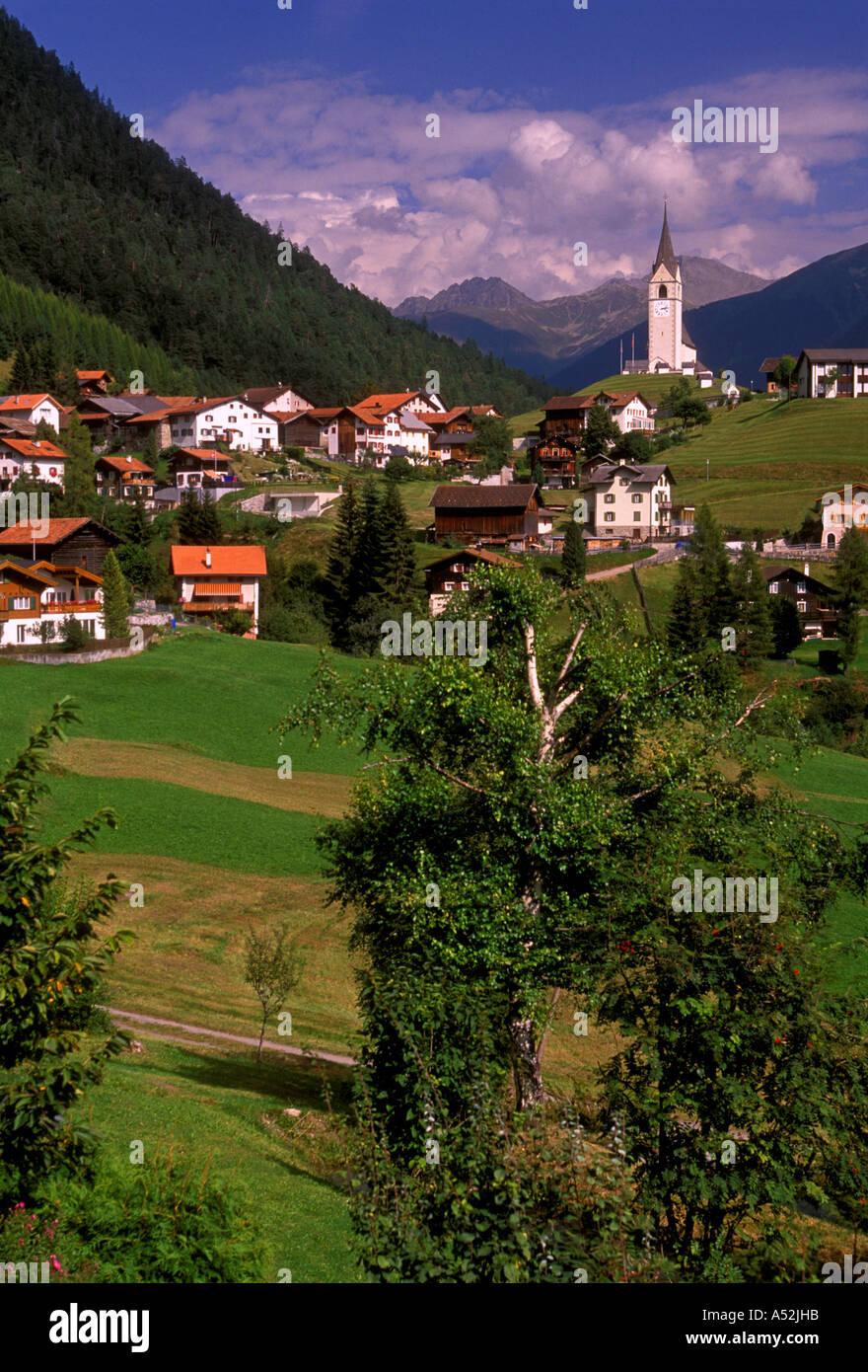 Mountain landscape Schmitten Graubunden Canton Switzerland Europe Stock Photo