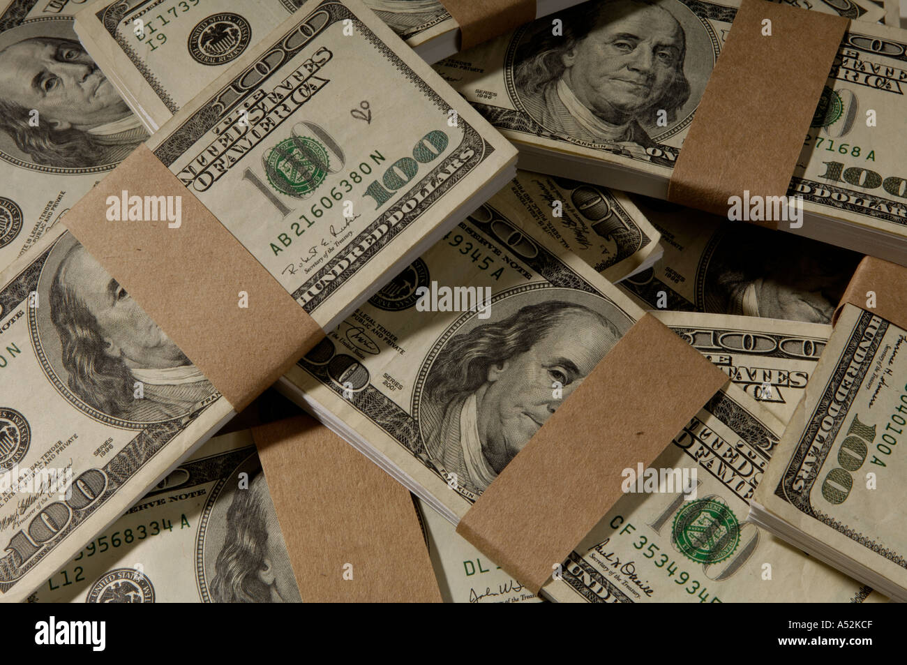 stacks of 100 dollar bills US - Stock Image