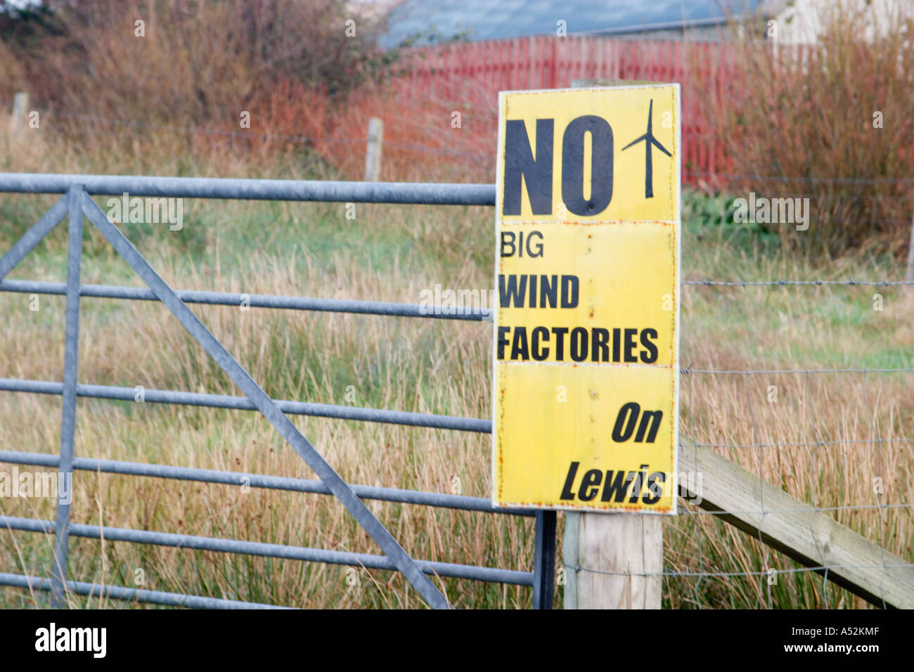 Windfarm Protest Sign, Isle of Lewis - Stock Image