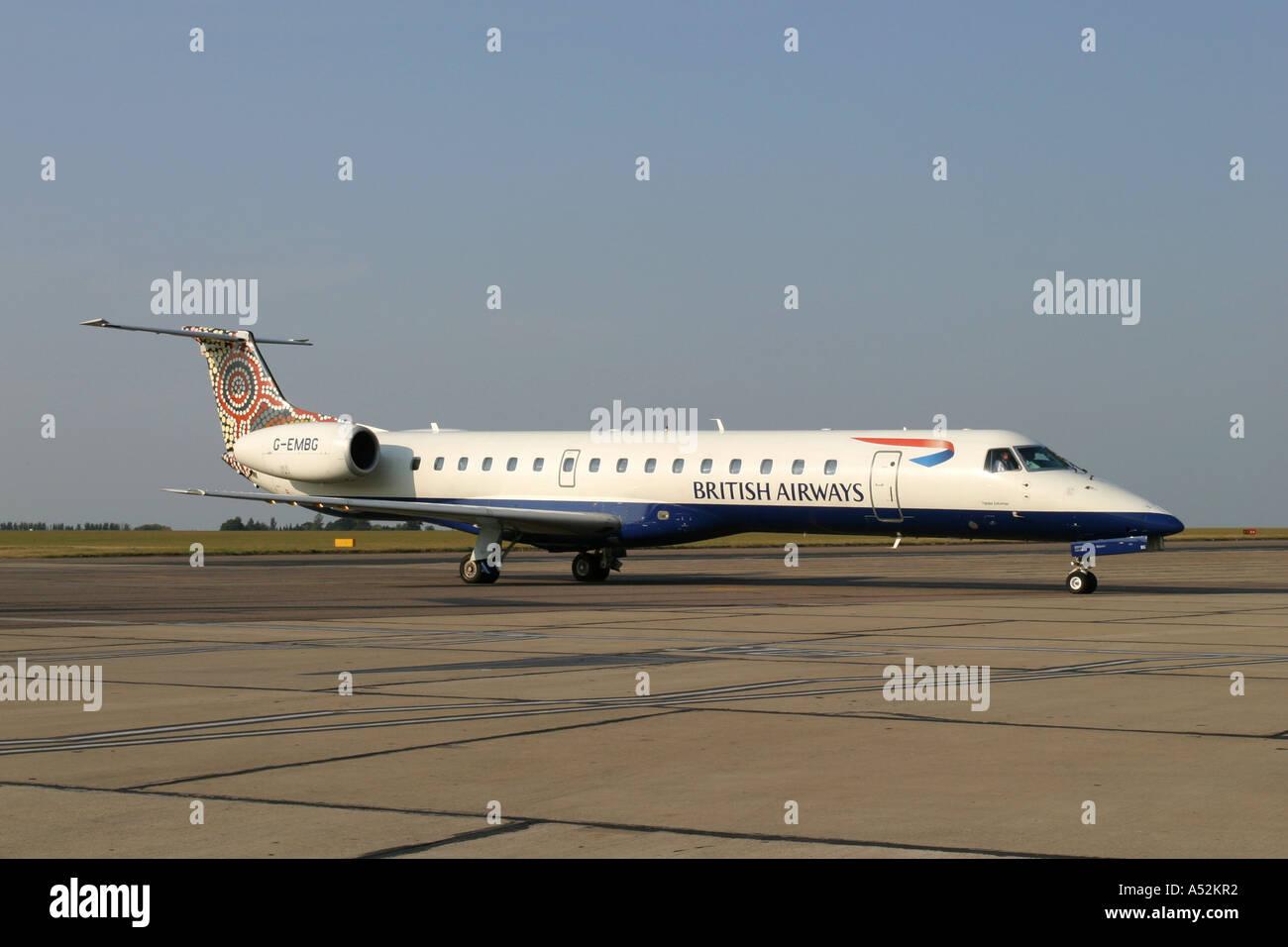 Embraer EMB 145 regional jet commuter aircraft of British AirwaysStock Photo