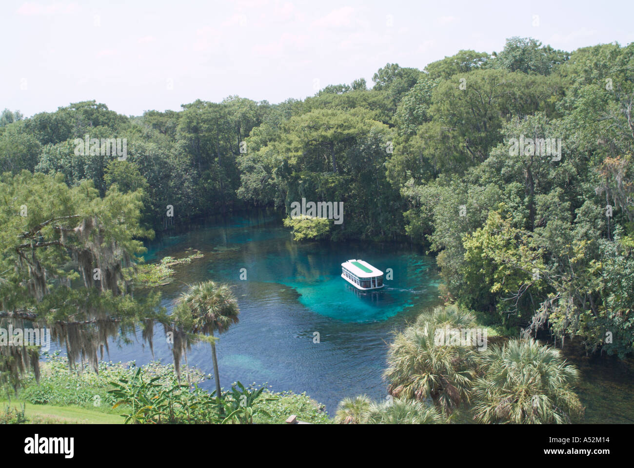 Silver Springs aerial view glass bottom boat tour Silver river Florida FL  USA lighthouse ride