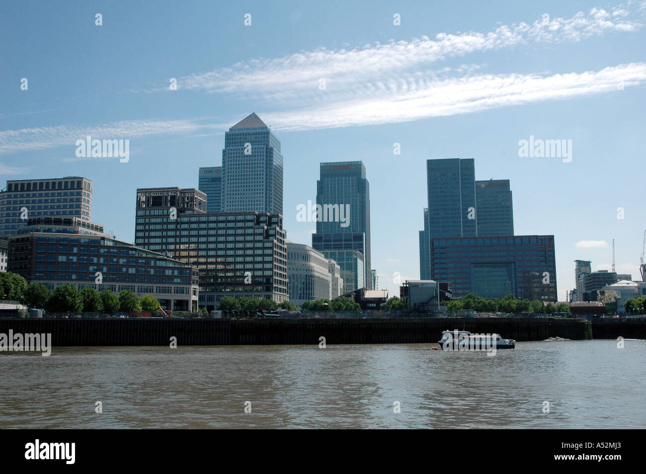 Canary Wharf viewed from The  Thames London England Financial and publishing centre - Stock Image