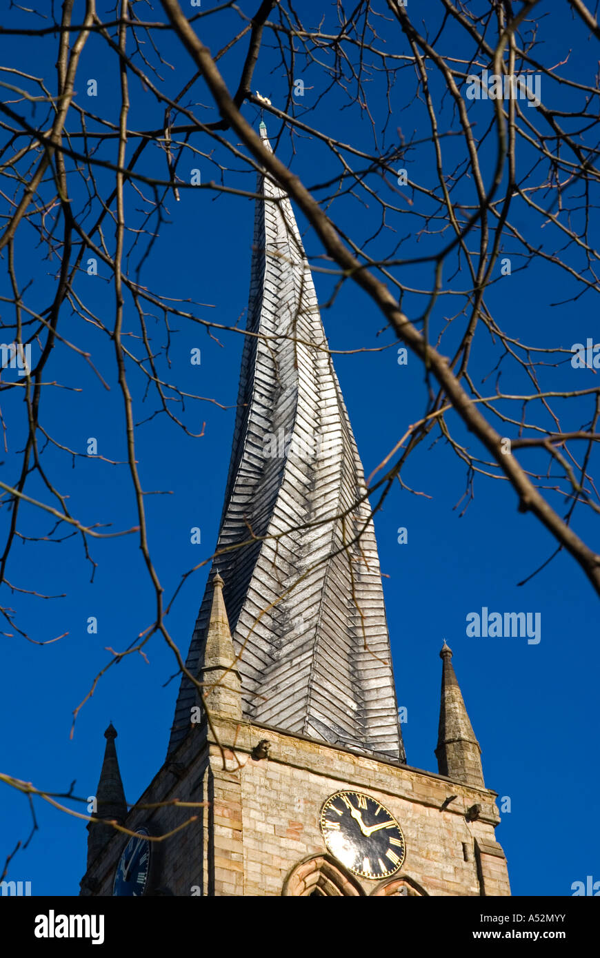 Warped Steeple, Chesterfield - Stock Image