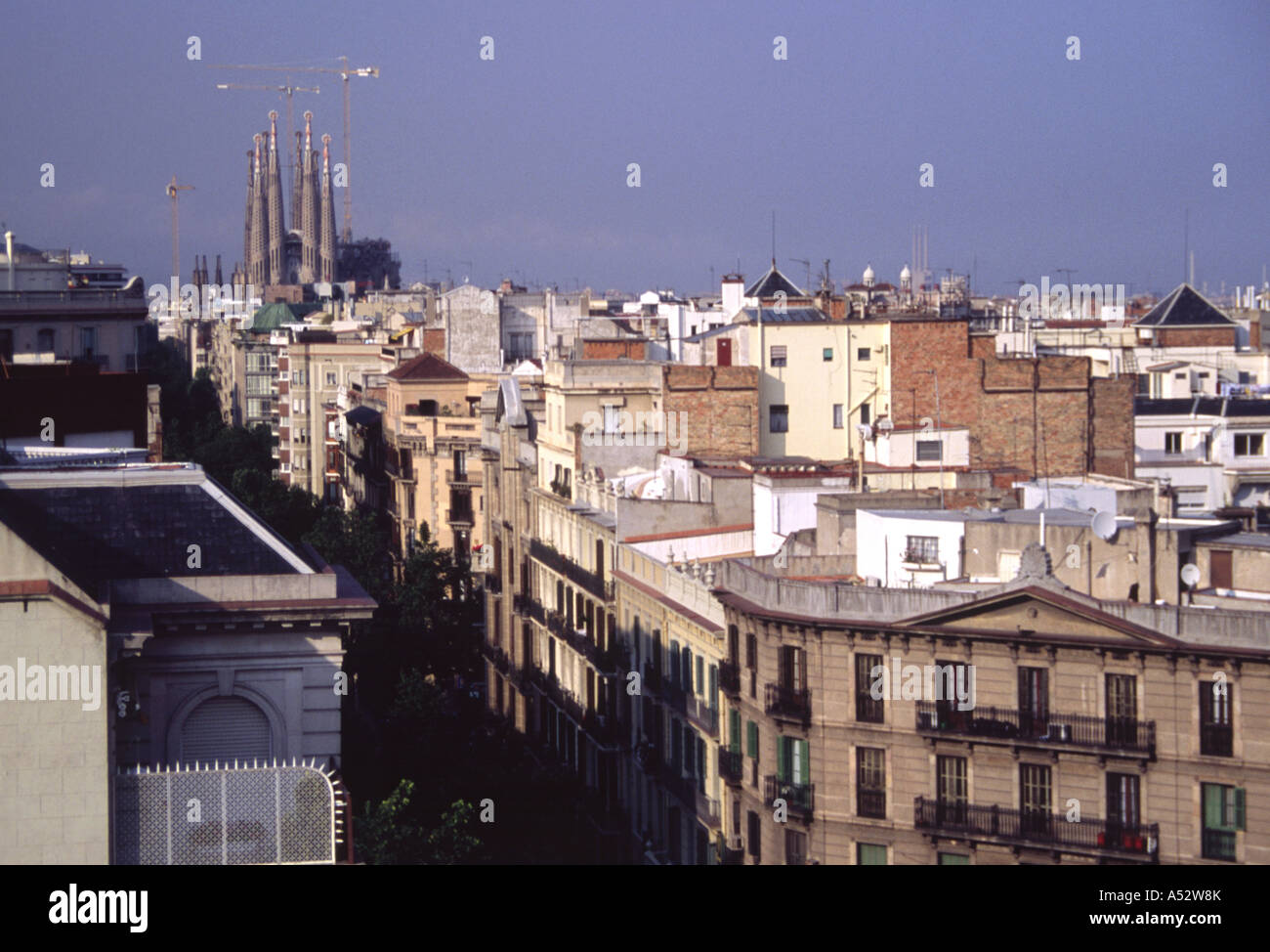 Aerial View of Barcelona Rooftops and Cathedral from La Pedrera Mila House Catalan Spain 2004 NR - Stock Image