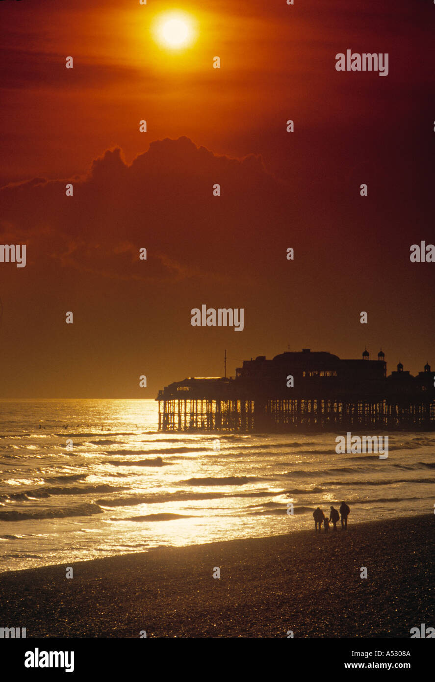 Beach & West Pier, Brighton, East Sussex, England Stock Photo