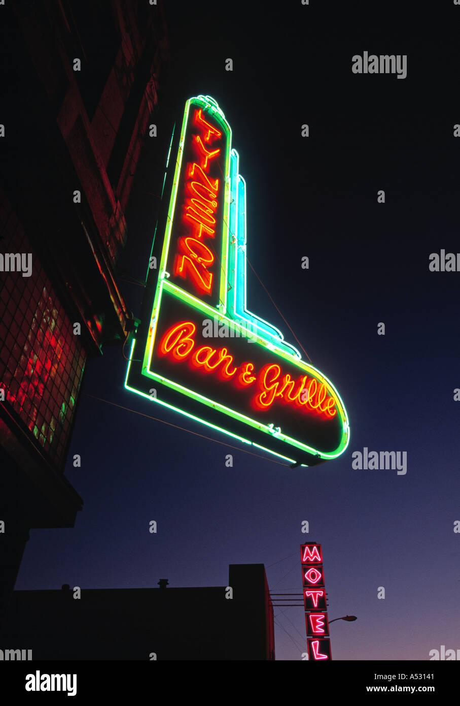 Neon Sign, Livingston, Montana, USA - Stock Image