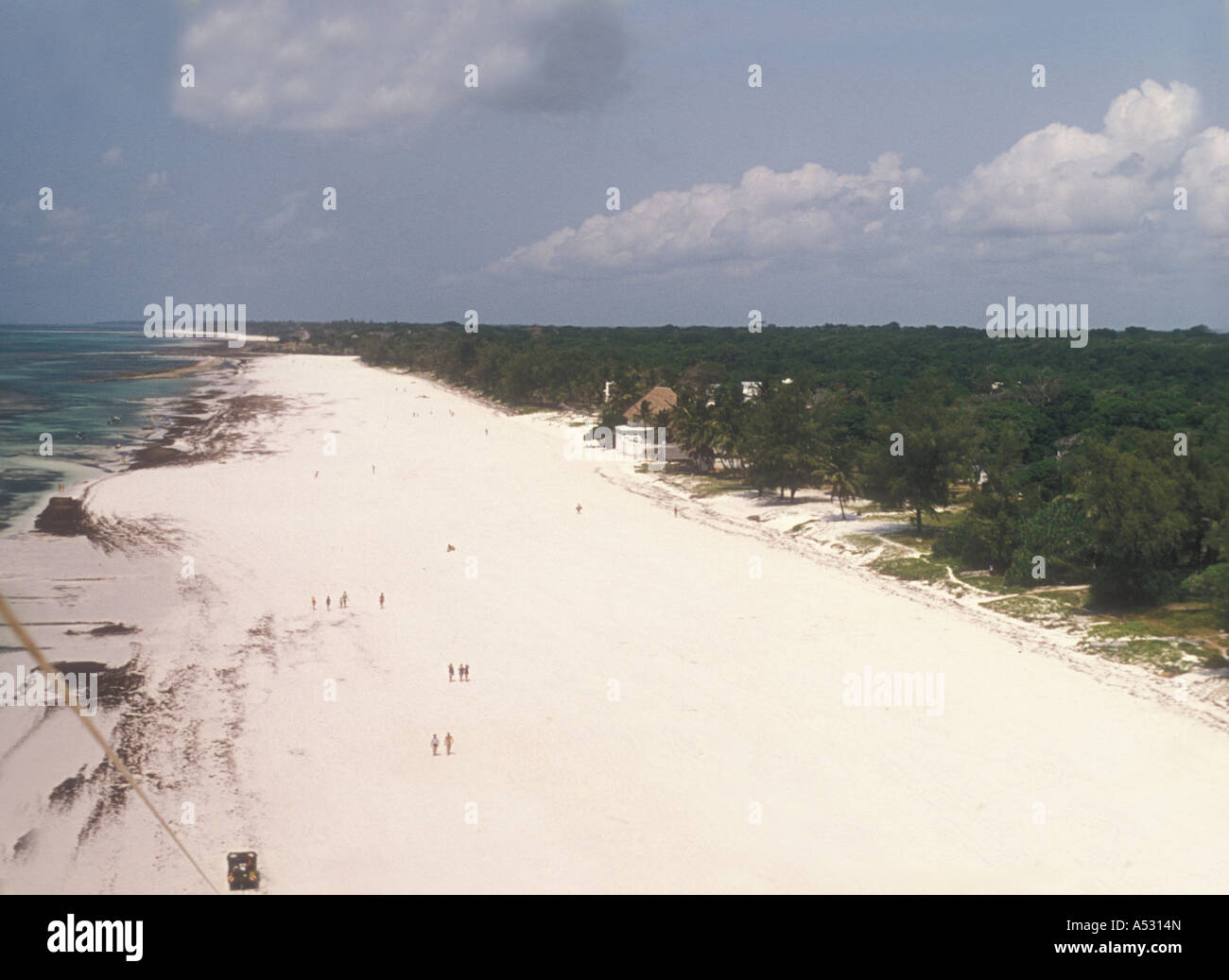 Aerial view from Parasail of Diani Beach Kenya coast East Africa - Stock Image