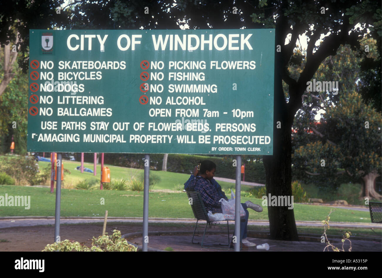 Notice board in Zoo Park Windhoek Namibia south west Africa Clash of cultures - Stock Image