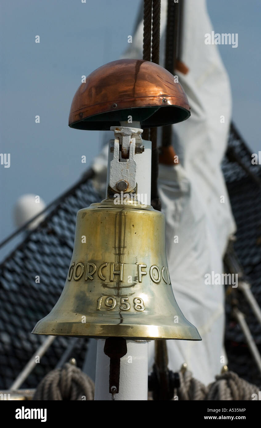 ship's  bell on the german Tall ship Gorch Fock - Stock Image