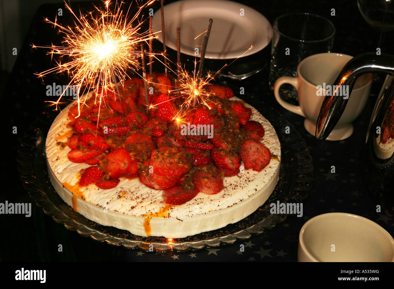 A Birthday Cake With Sparklers