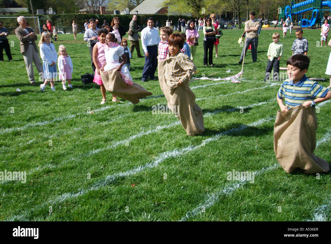 Easter field day sack race - Stock Image
