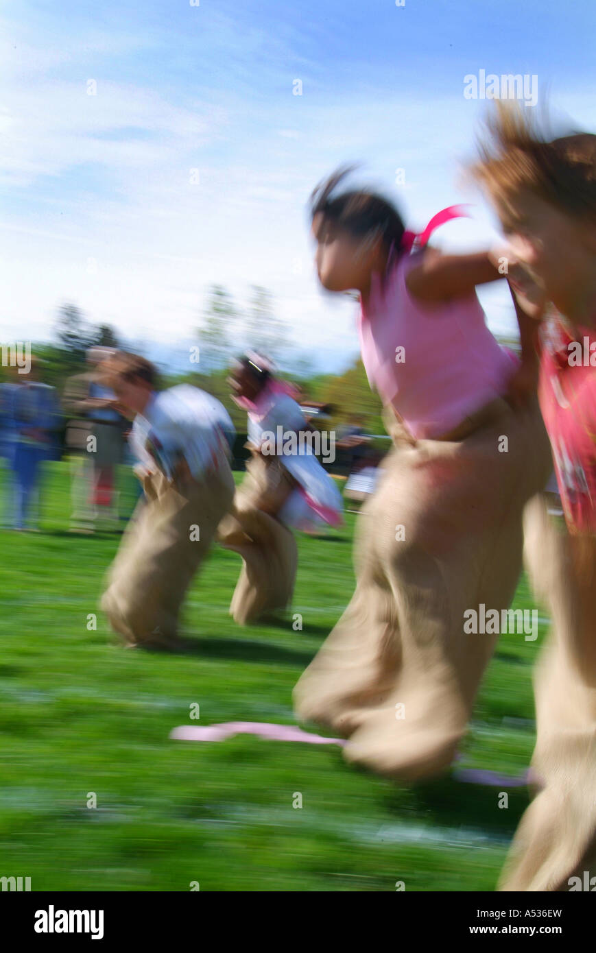 Elementary School Spring Field Day sack race - Stock Image