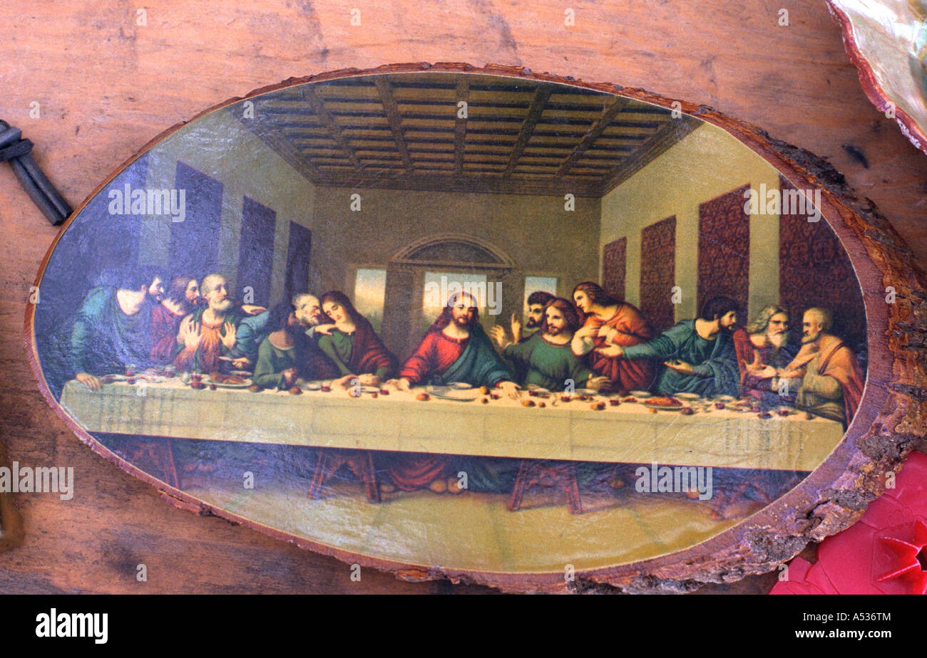 Picture Of The Last Supper Painted On Wood For Sale At Flea Market