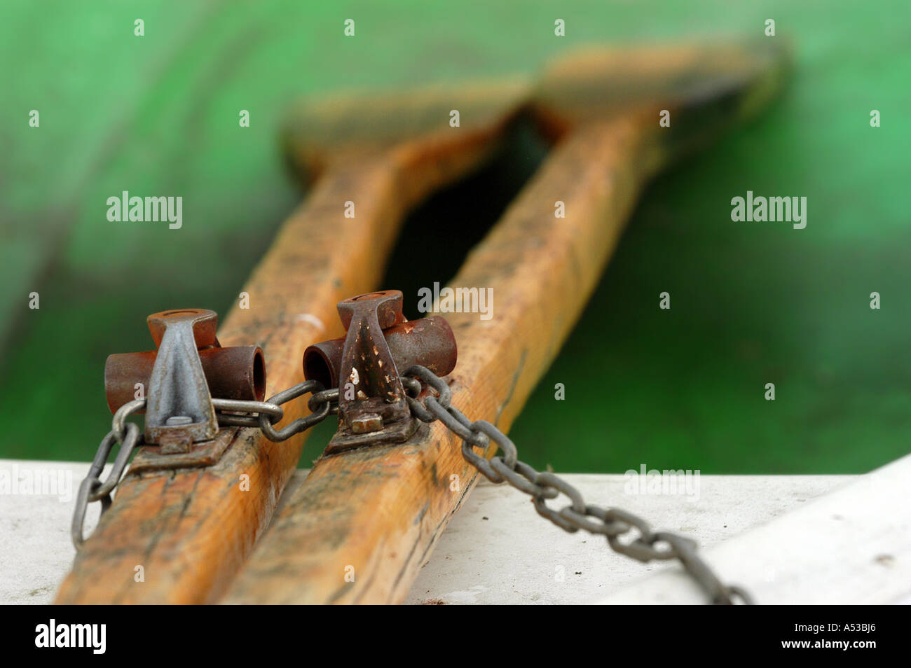Two oars saved with a chain, partial view - Stock Image