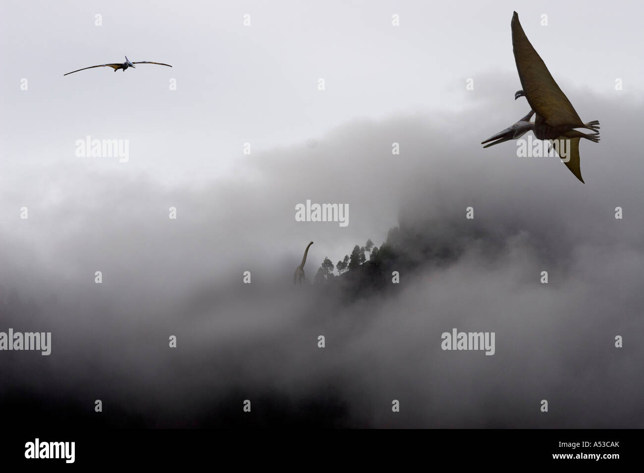 Pteranodon Brachiosaurier - Stock Image