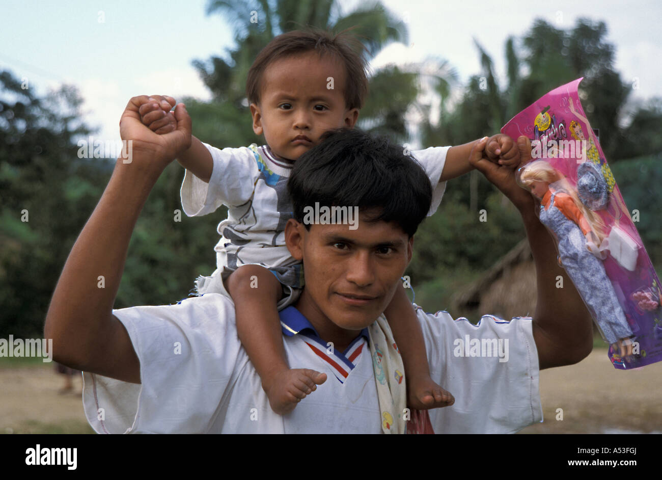 Painet ha0705 5635 guatemala father child christmas present naranhal peten country developing nation less economically - Stock Image