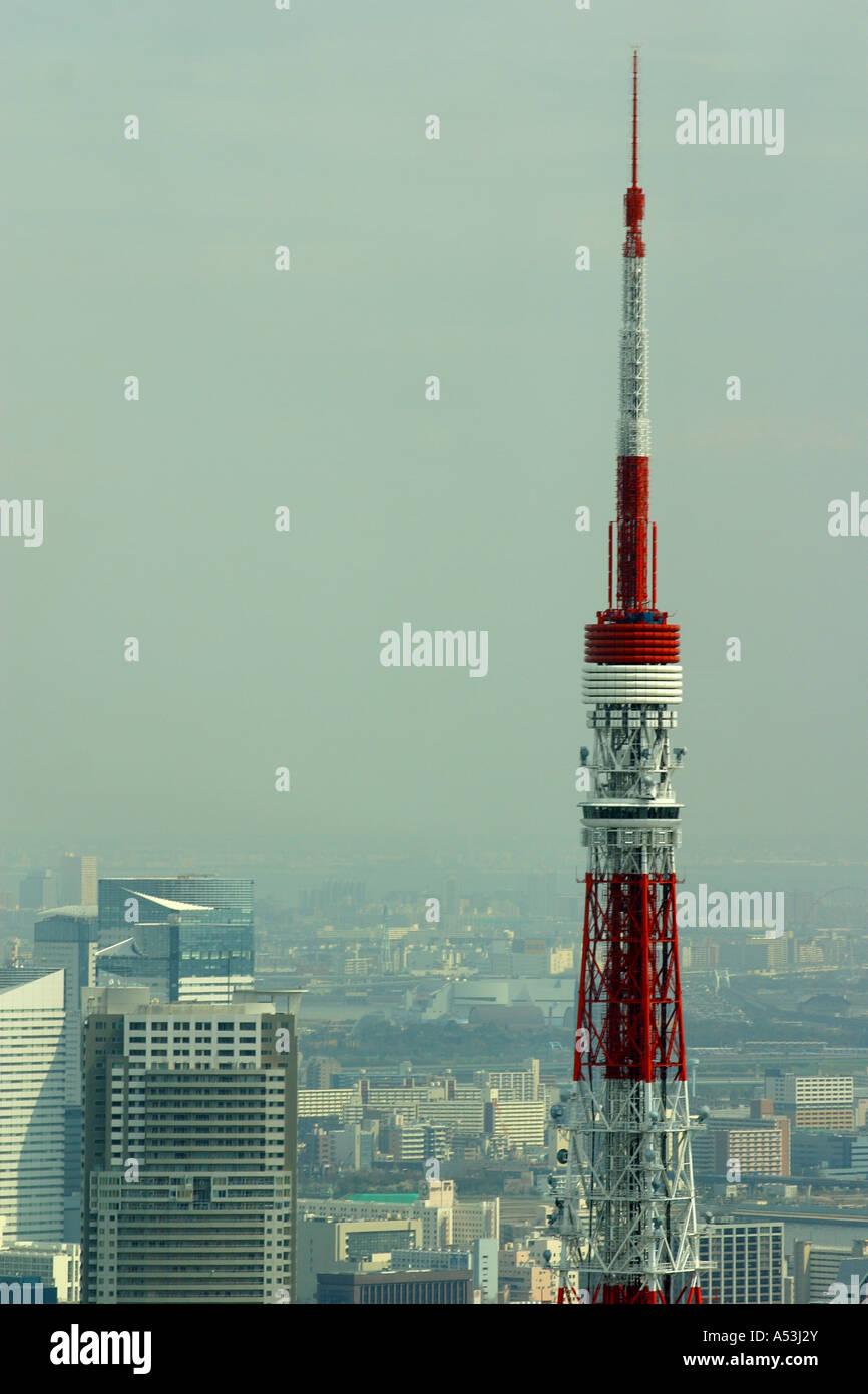 Tokyo  Japan travel high tower TV television emit red white iron tall landmark Stock Photo