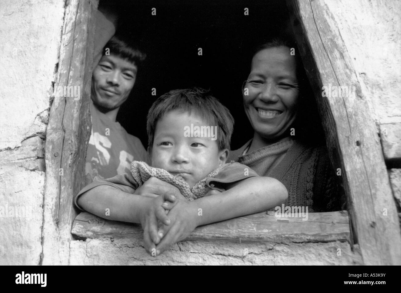 Painet ha1231 007 black white family nepali immigrant kalimpong india country developing nation economically developed - Stock Image