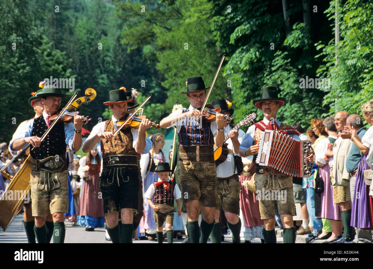 Traditional music at the daffodil festival on the Grundl lake Styria Austria Stock Photo