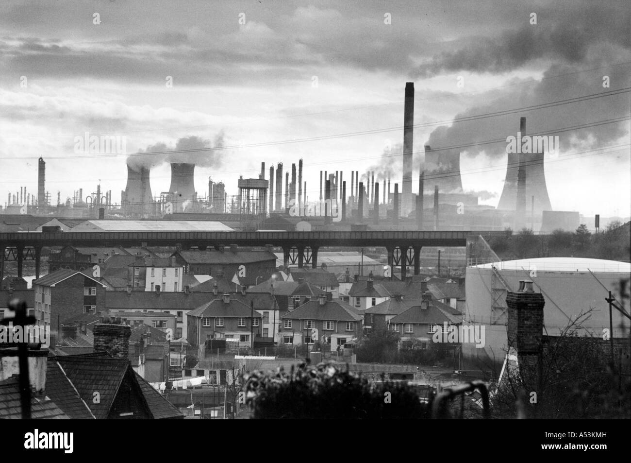 Painet ha1556 131 black and white environment industrial landscape port talbot united kingdom country developing - Stock Image