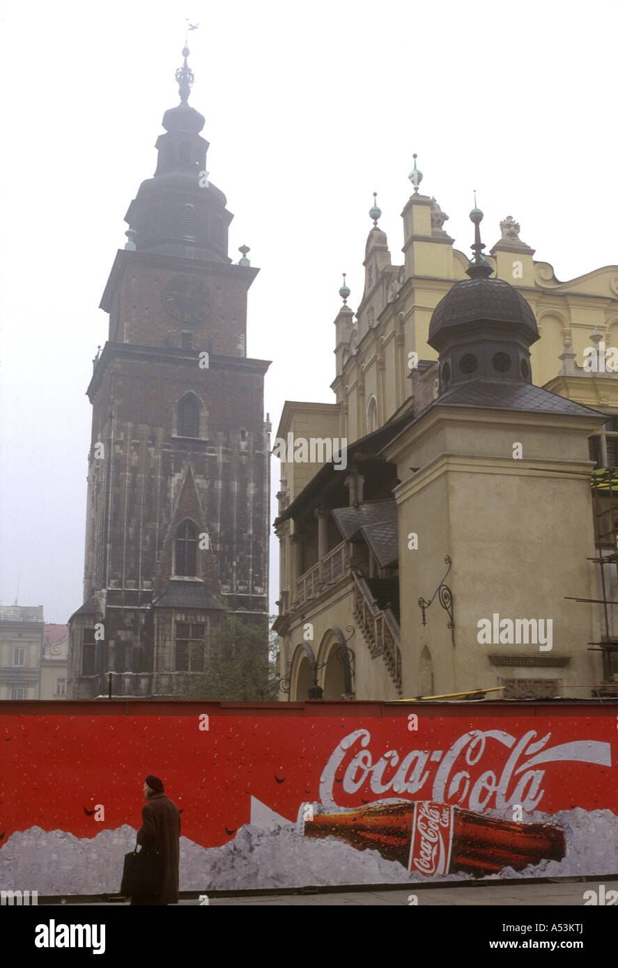 Painet ha1570 3155 poland market square coca cola coca-cola krakow country developing nation less economically developed - Stock Image