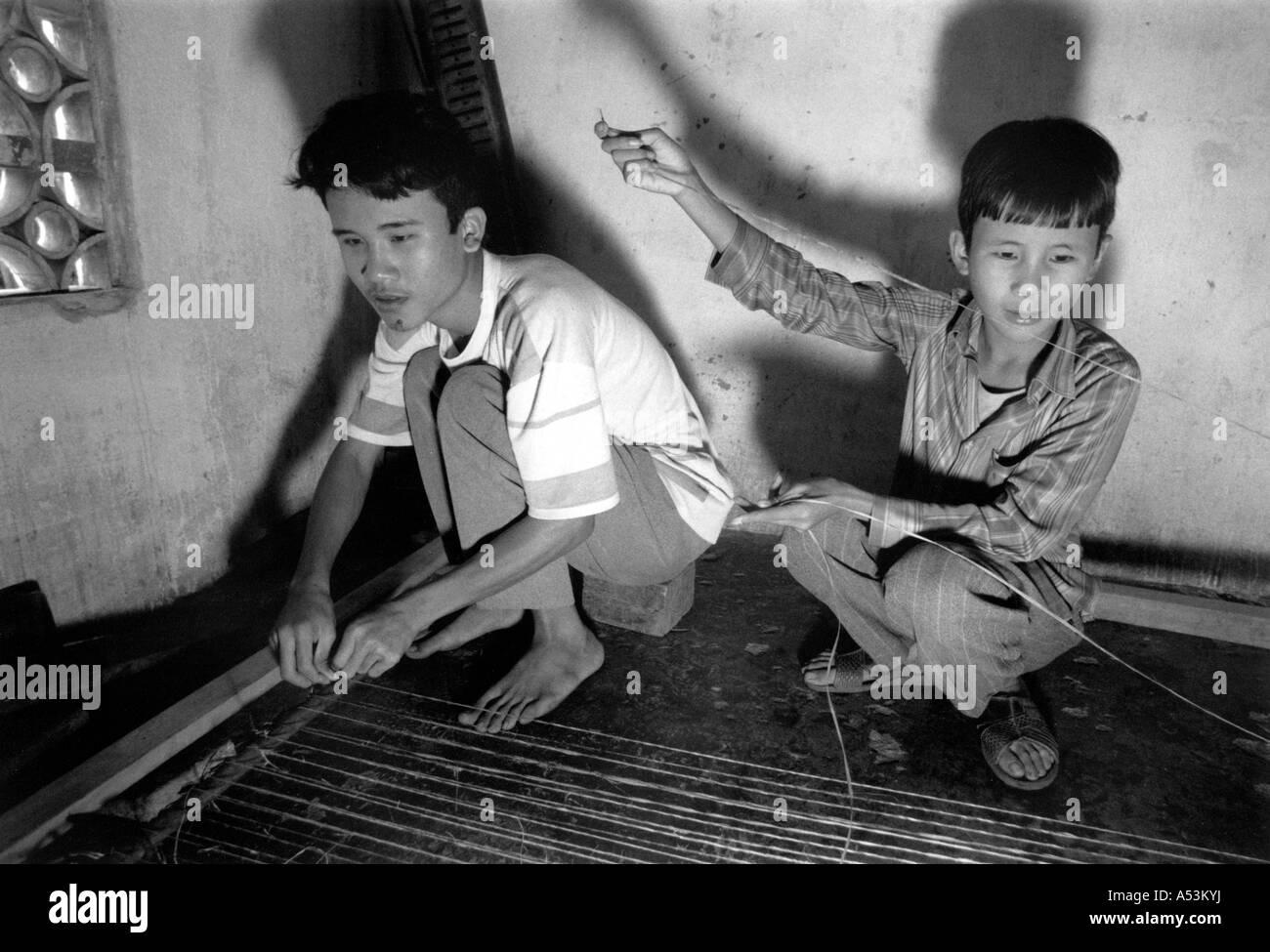 Painet Ha1334 134 Black And White War Blind Boys Making Handicrafts
