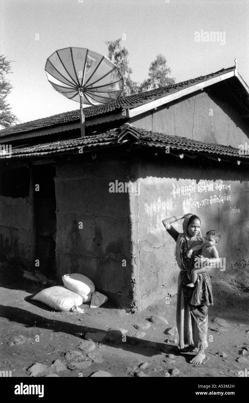 Painet ha1351 151 black and white contrasts village scene tv satellite dish gujarat india country developing nation - Stock Image