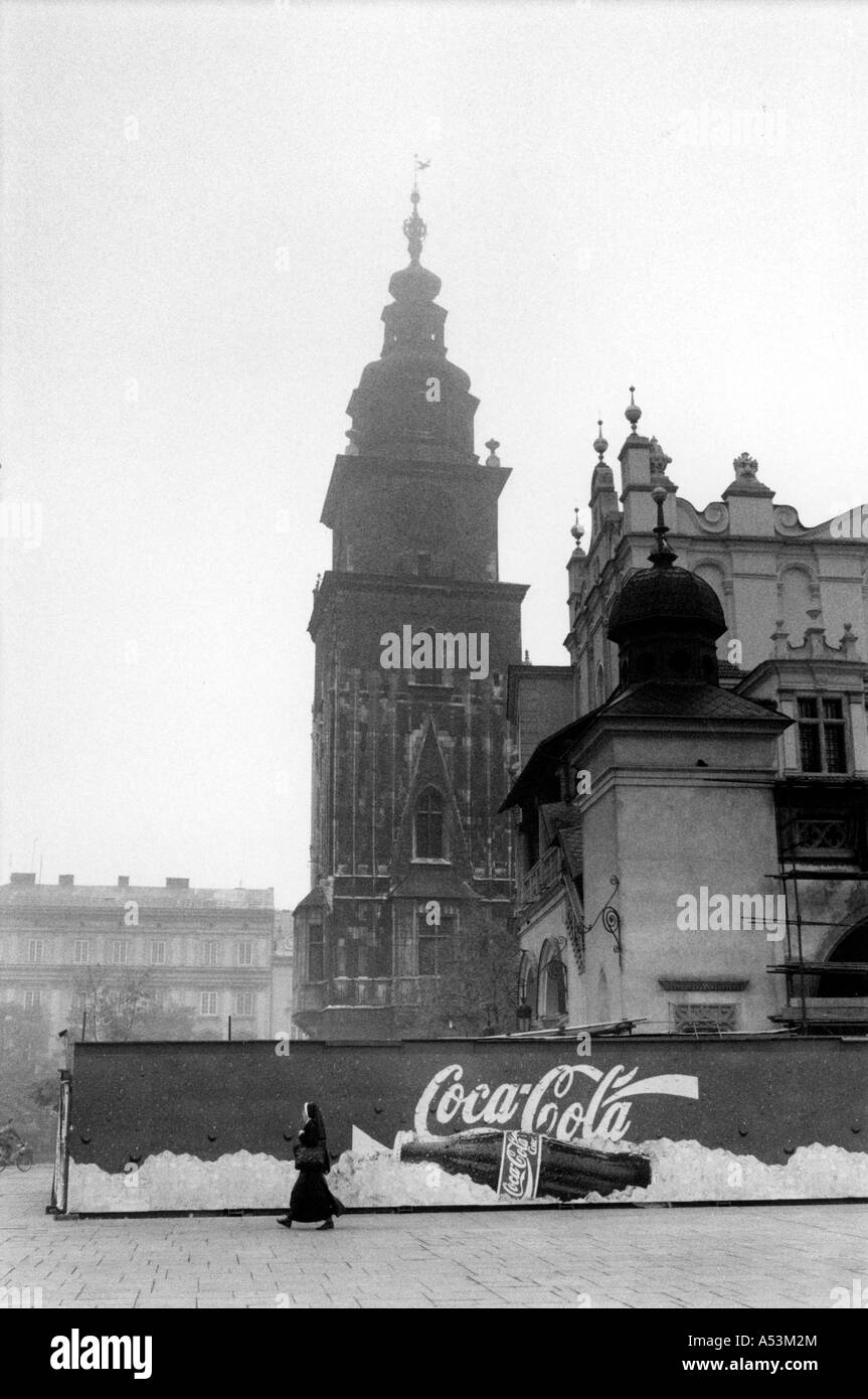 Painet ha1352 152 black and white contrasts old market square cracow poland country developing nation less economically - Stock Image