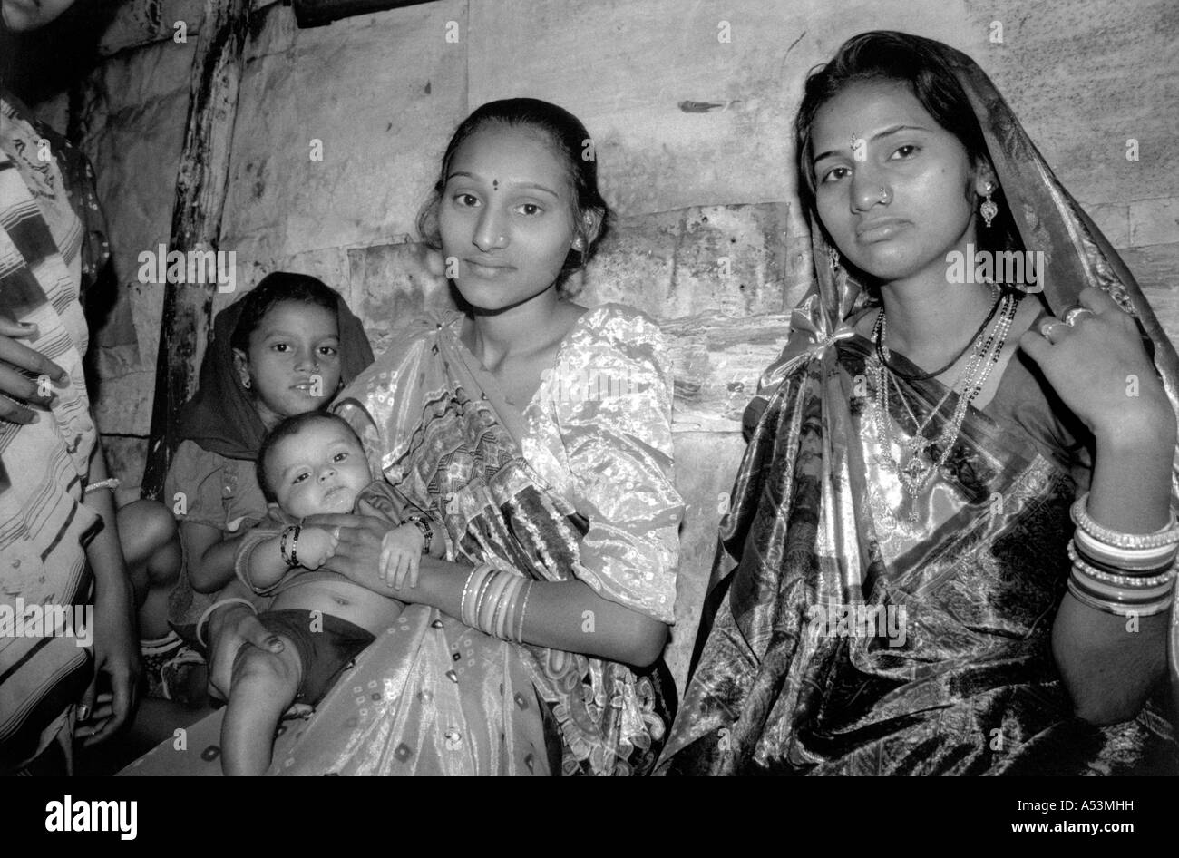 Painet ha1416 241 black and white women general ahmedabad gujarat india country developing nation economically developed - Stock Image