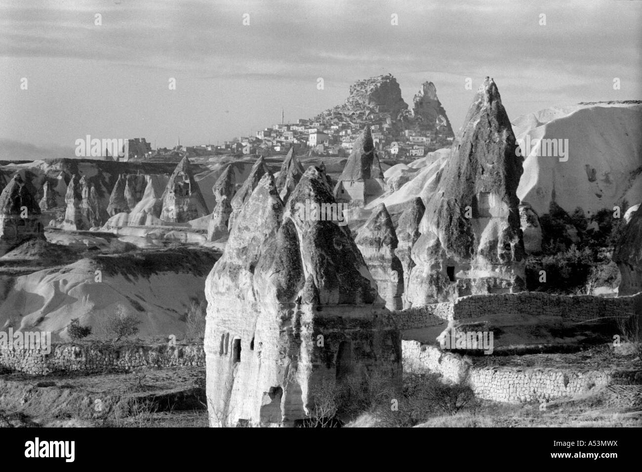 Painet ha1469 300 black and white landscape nevsehir cappadocia turkey country developing nation less economically - Stock Image