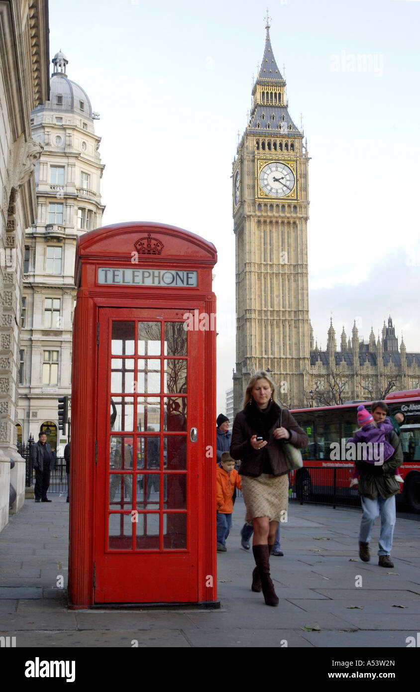 Big Ben and a red telephone box, London, Great Britain - Stock Image