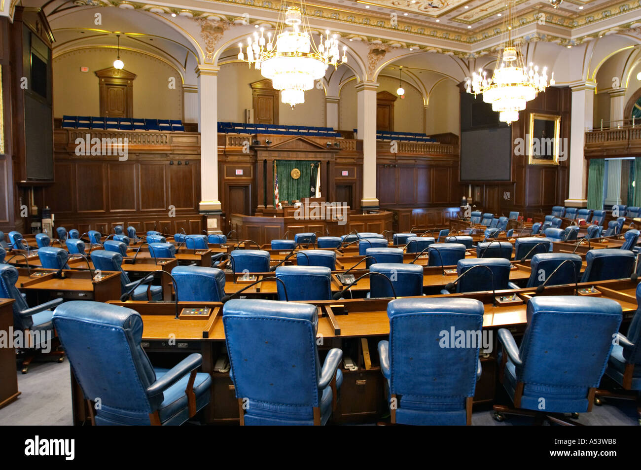 ILLINOIS Springfield Interior of State Capitol building legislative meeting room rows of desks and chairs  - Stock Image