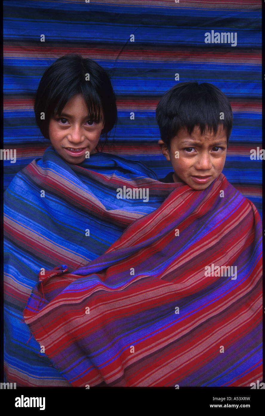 Painet ha2292 5114 guatemala children brother sister wearing cloth woven by father country developing nation less - Stock Image