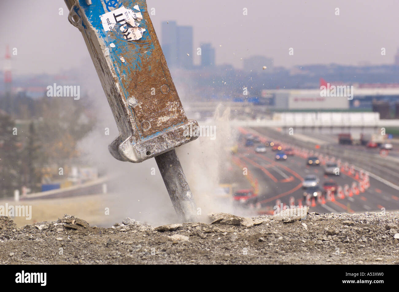 construction site A2 highway - Stock Image